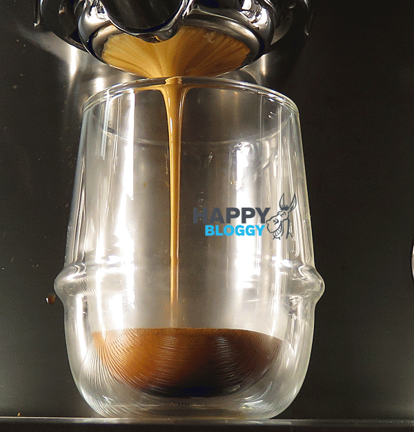 Image displaying a lovely looking espresso shot being poured from the bottomless portafilter